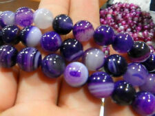 Nwe 8mm Natural Striped Purple Agate Onyx Round Gems Loose Beads 15""
