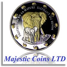 2015 Benin Elephant Protection De La Nature .999 Silver 24k Gilt Proof Coin