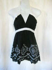 *Bombshell Store Cute Black & White Floral Boho Chic Apron Halter Top S