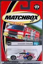 Matchbox MB 89 DARE Camaro Police Patrol White 2000 Mint On Card