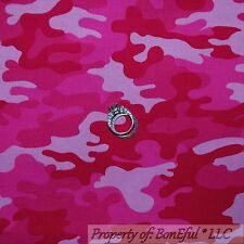 BonEful Fabric FQ Cotton Quilt Pink Camo*uflage USA Military Army American Girl