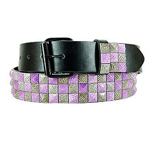 Men's Fashion Studded Belt (New M) Pink And Brown Quality Genuine Leather Belt