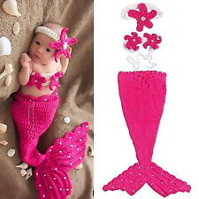 Newborn Baby Girl Knit Crochet Mermaid Tutu Dress Costume for Photo Prop Outfit