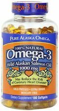 Pure Alaska Omega-3 Wild Alaskan Salmon Oil 1000mg, 180 Softgels - FREE SHIPPING