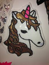 Unicorn sequin embroidered lace applique motif patch costume