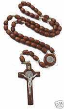 "ST Benedict Rosary Necklace Medal 19"" NR Brown Wood Beads INRI Cross Jerusalem"