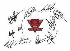 12 x 8 inch photo featuring the Salford Red Devils badge personally signed by 11