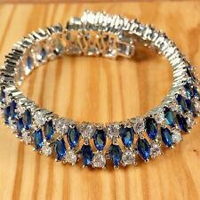 14 ctw Genuine Blue Topaz and White Sapphire in 14K White Gold Filled Bracelet