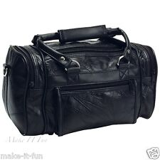 "12"" Genuine Black Leather Mens Toiletry Bag Shaving Kit Overnight Travel Duffel"