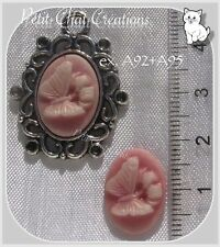 LOT 2 CAMEES EN RELIEF CABOCHON PAPILLON ROSE 18x13mm pour support camée *A95