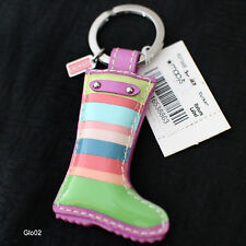 NWT COACH MULTI LEGACY STRIPE LEATHER BOOT SHOE KEYCHAIN KEY RING FOB 93136 NEW