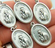 "St Anthony & Saint Francis 5 Piece Medal Lot Pendant Set 3/4"" Silver Tone Italy"