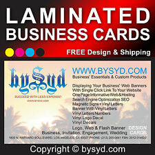 100 CUSTOM BUSINESS CARDS: COLOR PRINTED ON 1 & LAMINATED ON 2 SIDES (1.8 mil)