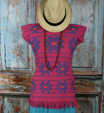 Pink & Turquoise, Huipil Blouse, Cotzocon Oaxaca Mexico, Hippie, Boho Flowers