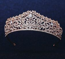 Wedding Bridal 18K gold plated crystal tiara crown headband Rose Gold Colour