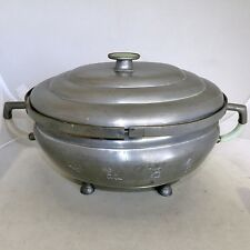 """14.2"""" Antique Chinese Pewter Double Chafing Dish w/ Green & White Jadeite Jade"""
