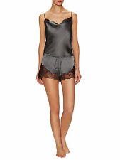 MSRP $295 Josie Natori Lorena Silk Satin Lounge Romper Black and brown size L