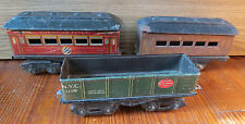 3 OLD AMERICAN FLYER PRE WAR TRAIN PASSENGER and COAL CARS - O Gauge