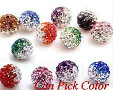 100pcs/lot 10mm Disco mixed Gradient change Colorful Crystal Shamballa Beads