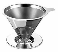 Osaka Stainless Steel Pour Over Cone Dripper Reusable Coffee Filter w Cup Stand