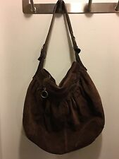 LUCKY BRAND Brown Suede Leather Hobo Boho Tote Carryall Purse Bag Handbag Purse