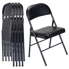 New Black Set of 4 Folding Chairs Steel PU Portable Home Garden Office Furniture