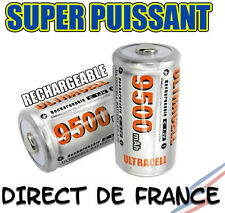 Lot de 2 Piles C R14 LR14 9500mAh Rechargeable 1.2V Ni-Mh Accu DIRECT DE FRANCE