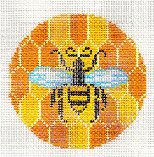 "Honey Bee & Honey Comb handpainted Needlepoint Canvas Ornament ~ 3"" Rd. by LEE"