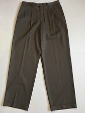 Armani Collezioni Men's 33x32 Brown Pleated Dress Pants Trousers Wool & Cotton