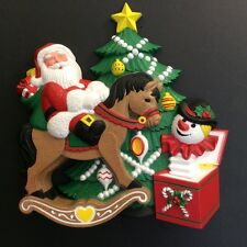 "Vintage Burwood Products Christmas Santa Molded Wall Hanging 10""x10"" MINT"
