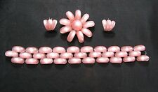 VINTAGE THERMOSET SOFT PINK MOONGLOW, BRACELET, PIN & EARRINGS PARURE gorgeous