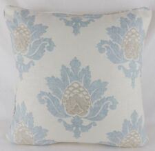 "Large 20"" Blue Jane Churchill Bruton Damask Linen Scatter Pillow Cushion Cover"