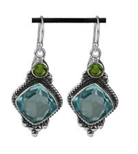FACETED BLUE TOPAZ w GREEN PERIDOT .925 STERLING SILVER DROP EARRINGS 1 3/4""
