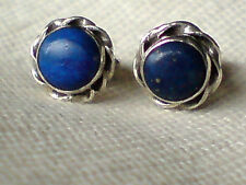 STERLING SILVER PRETTY 8mm.STUD EARRINGS WITH ROUND LAPIS STONES £9.50 NWT