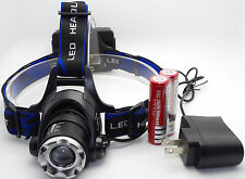 2000LM Zoomable Cree XM-L T6 Led Headlight Headlamp Head Torch 18650 + Charger