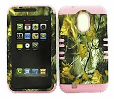 Hybrid Cover Case+Sprint Samsung Galaxy S2 D710 Camo Mossy Dry Leaves Light Pink