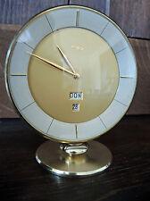 midcentury Imhof Uhr Tischuhr Swiss made mit 8-Tagewerk & Kalender 50er 60er