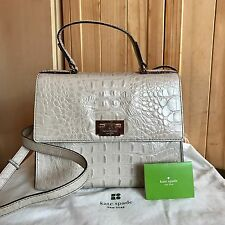 Kate Spade New York Grey Croc Leather Satchel Bag + Dustbag - RRP £399