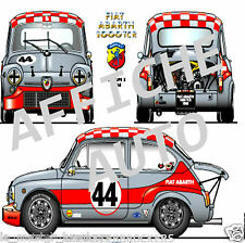 Affiche auto / Poster Fiat Abarth 1000 TCR (type fiat 500) voiture automobile
