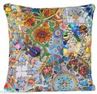 Blue Mosaic Cushion Cover Printed Red Pillow Case Cotton Fabric Vintage Style