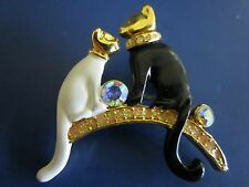 Gold Tone Black & White Enamel and Rhinestone Two Sitting Kitty Cats Brooch Pin