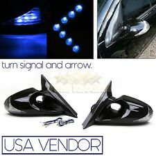 FOR 97-01 HONDA PRELUDE K6 POWER SIDE MIRROR CREE BLUE LED SIGNAL LIGHTS+ARROW