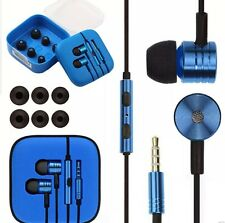 IN EAR NOISE ISOLATING METAL EARPHONE HEADSET BRAIDED CABLE MIC+REMOTE + BLUE