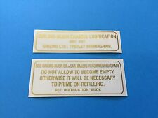 Daimler Conquest & Conquest Century Chassis Lubrication Tank Labels