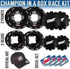 "DWT Black Champion in a Box 10"" Front 9"" Rear Rims Beadlock Rings Raptor YFZ 450"