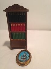 VINTAGE MINIATURE DOLLHOUSE FURNITURE BOOK CASE WITH BOOKS AND PAINTING