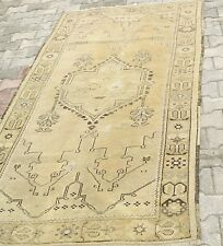 "Antique Ca1900-1939s 4'x7'8"" Ivory-Gold Colors Wool Natural Dyes Ushak  Rug"