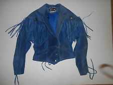 Women's G-III Blue Genuine Suede Leather Western Jacket With Fringe Small
