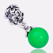 2pcs Green MURANO GLASS dangle Floating Charms for european beads