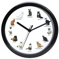 Meowing Cat Wall Clock - 12 Breeds incl: Siamese, Persian, and Maine Coon